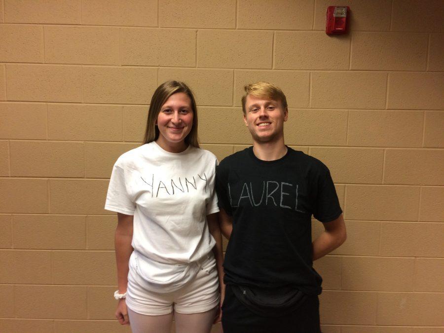 Seniors Aundrea Kalckik and Luke Holden dress up as 'Laurel and Yanny.'